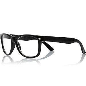 Boys black clear lense retro geek glasses