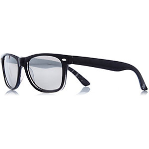Boys black retro mirror lens sunglasses