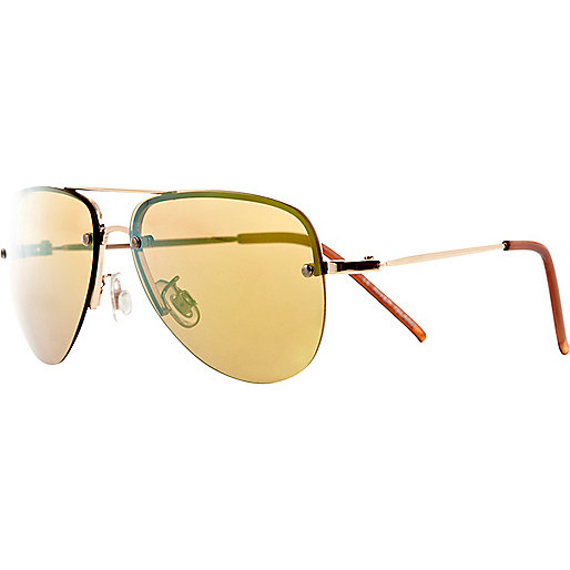 Boys gold aviator mirror sunglasses