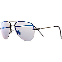Boys silver aviator mirror sunglasses