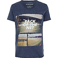 Boys blue back of the net voop neck t-shirt