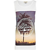 Boys white Los Angeles print vest