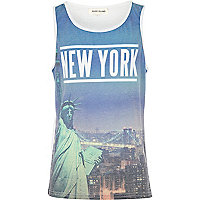 Boys white New York sublimation print vest