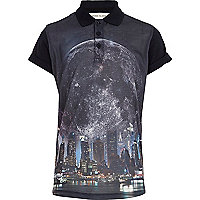 Boys navy night city sublimation polo shirt