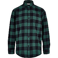 Boys green check flannel shirt