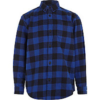 Boys blue check flannel shirt