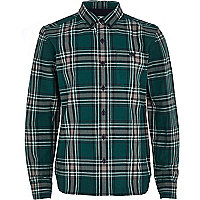 Boys green check long sleeve shirt