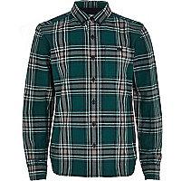 Boys green check long sleeve shirt