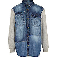 Boys blue jersey sleeve denim shirt