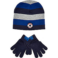 Boys blue striped Converse beanie and gloves