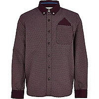 Boys red ditsy print long sleeve smart shirt