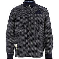 Boys navy ditsy print long sleeve smart shirt