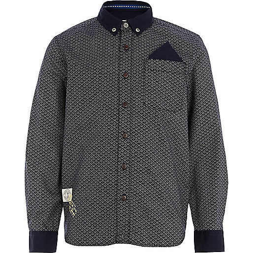 Boys navy ditsy print long sleeve smart shirt