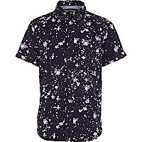 Boys navy cosmic print shirt