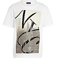 Boys white wet look NYC print t-shirt
