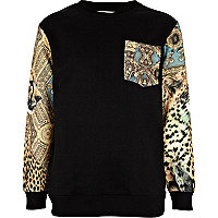 Boys black baroque sleeve sweatshirt