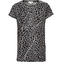 Boys grey leopard print t-shirt