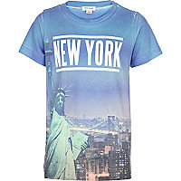 Boys white New York liberty print t-shirt