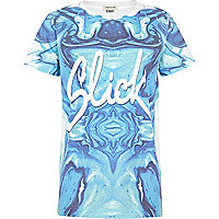 Boys blue sublimation slick print t-shirt