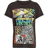Boys black fresh mixed print t-shirt