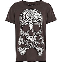 Boys black glow in the dark skull t-shirt