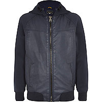 Boys blue leather look bomber jacket