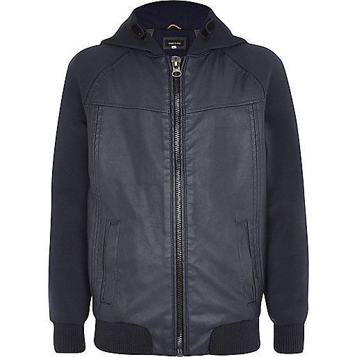 Boys blue leather look bomber jacket