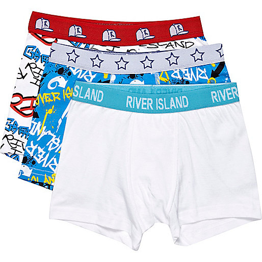 Boys white 3 pack graffiti boxer shorts