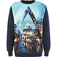 Boys blue Amsterdam sublimation sweatshirt