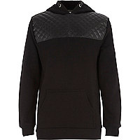 Boys black quilted yoke hoodie