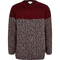 Boys red twist block cable knit jumper
