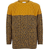 Boys yellow twist block cable knit jumper