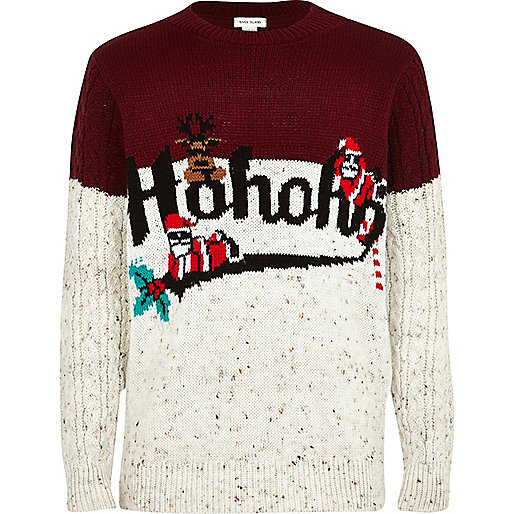 Boys cream colour block christmas jumper