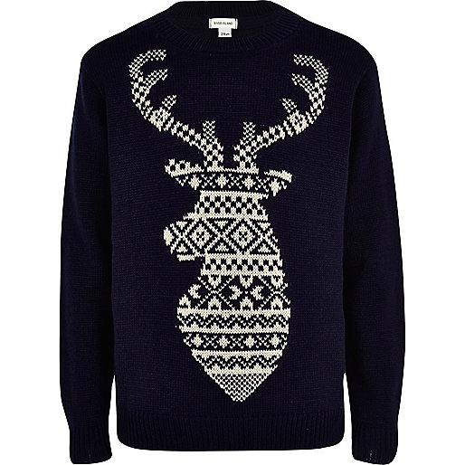 Boys navy fairisle reindeer jumper