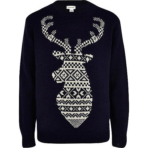 Boys navy fairisle reindeer jumper