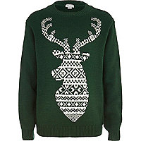 Boys green fairisle reindeer jumper