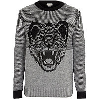 Boys black wolf jumper