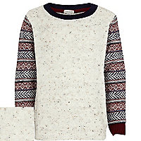 Boys ecru jacquard sleeve jumper