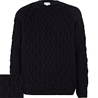 Boys black cable knit jumper