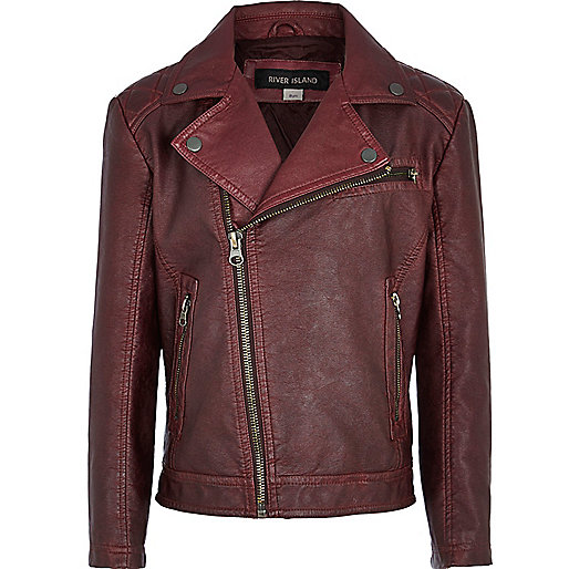 Boys dark red leather look biker jacket