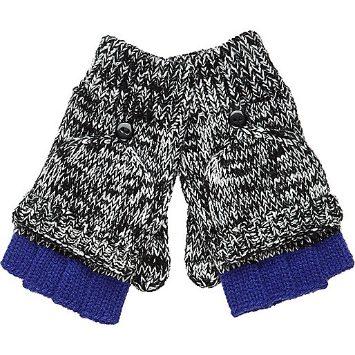 Boys grey twisted yarn fingerless gloves