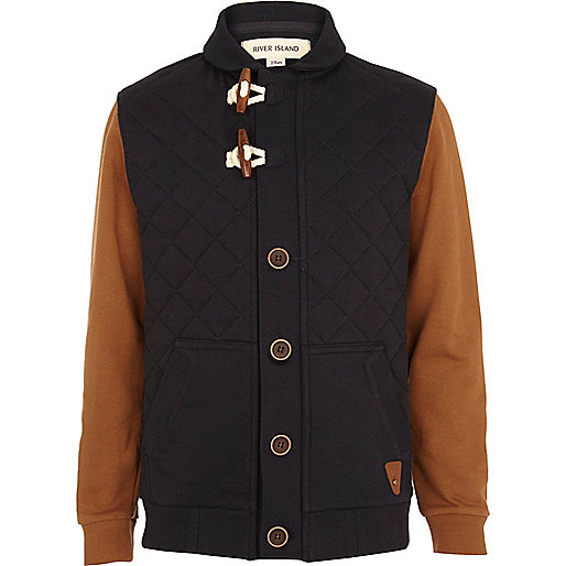 Boys navy contrast sleeve donny jacket
