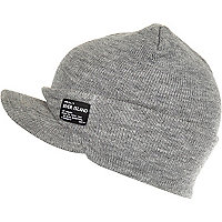 Boys grey peaked beanie hat