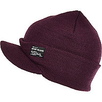 Boys purple ribbed peaked beanie hat