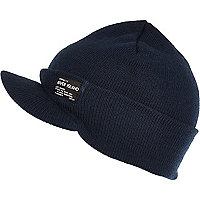 Boys navy ribbed peaked beanie hat