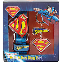 Boys blue Superman belt and keyring gift set