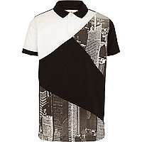 Boys white city block polo shirt
