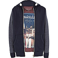 Boys navy hoodie and Amsterdam t-shirt set