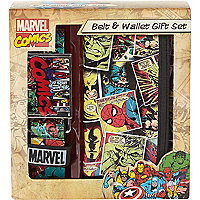 Boys black Marvel belt and wallet gift set