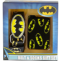 Boys black Batman belt and socks gift set